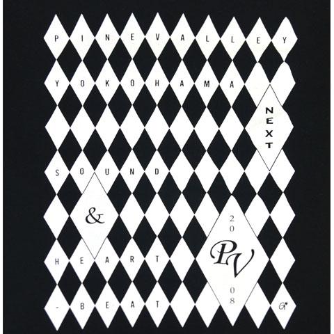 パインバレー■チェッカーフラッグ ダイヤ Tシャツ/ブラックボディ×ホワイトプリント