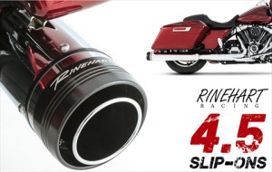 ラインハート■Rinehart Racing 4.5インチ スリップオンマフラー ブラック/クロームエンド 17年ツーリング [500-0110]