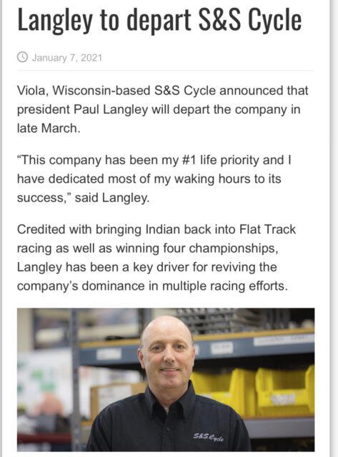 S&Sのポール社長が退職。ハーレーのカスタムパーツメーカーS&S Cycle